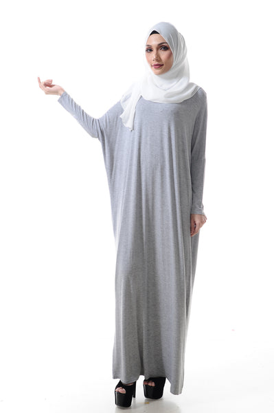 Basic Batwing Dress in Light Marble Grey