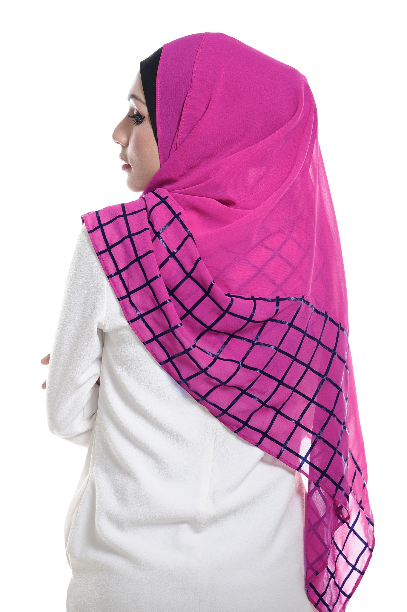 Marcella ( Metallic Chequer ) Instant Scarf in 030