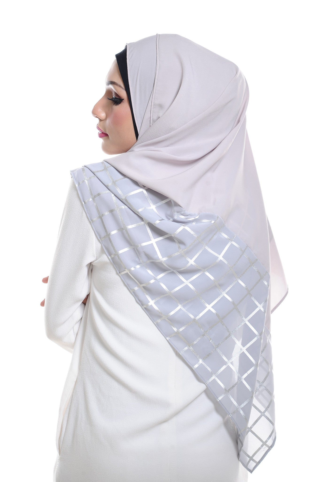 Marcella ( Metallic Chequer ) Instant Scarf in 032