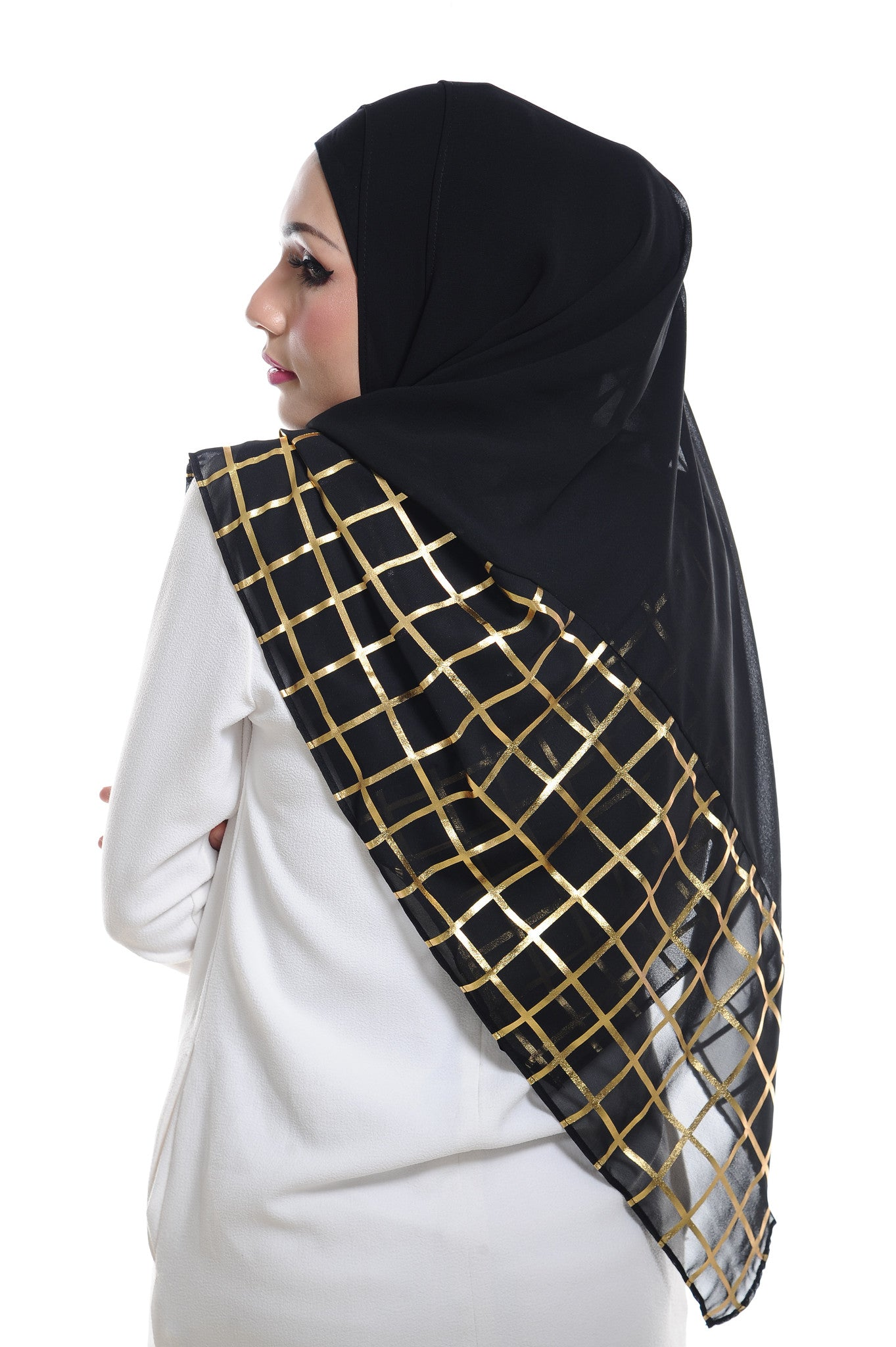 Marcella ( Metallic Chequer ) Instant Scarf in 033