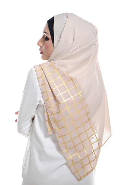 Marcella ( Metallic Chequer ) Instant Scarf in 038