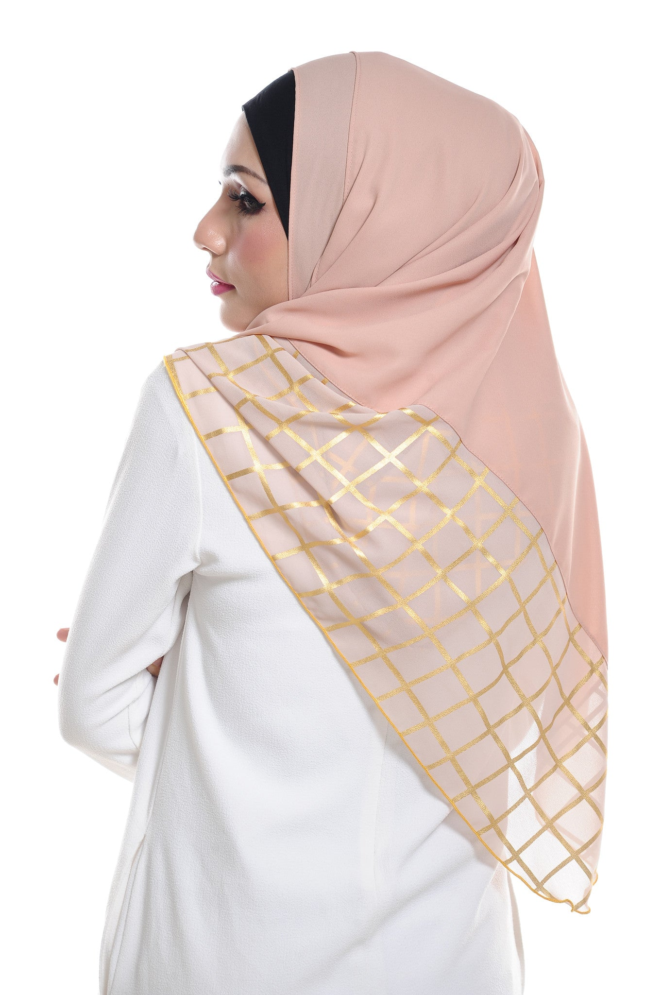 Marcella ( Metallic Chequer ) Instant Scarf in 039