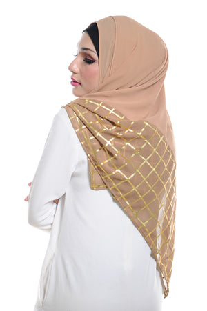 Marcella ( Metallic Chequer ) Instant Scarf in 040