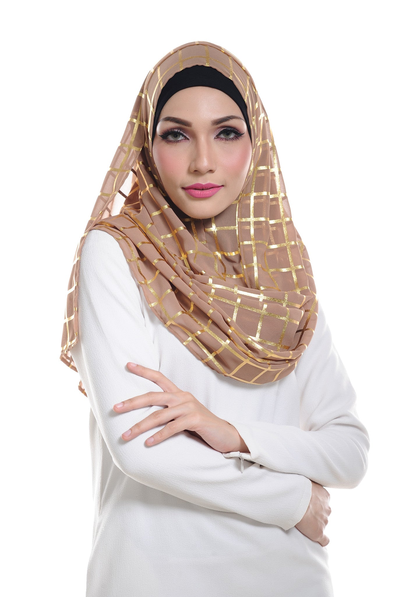 Marcella ( Metallic Chequer ) Instant Scarf in 004