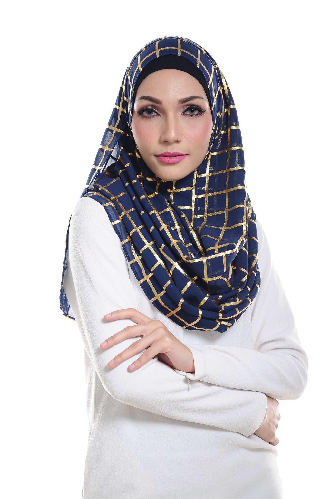 Marcella ( Metallic Chequer ) Instant Scarf in 005