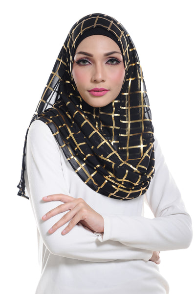 Marcella ( Metallic Chequer ) Instant Scarf in 007