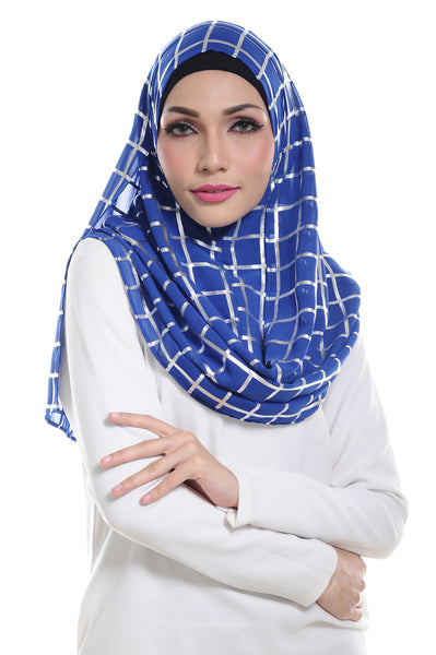 Marcella ( Metallic Chequer ) Instant Scarf in 008
