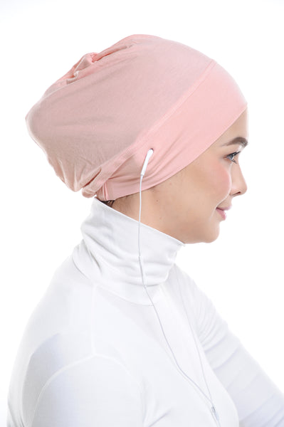 Snow Cap in Coral Peach with ear loop