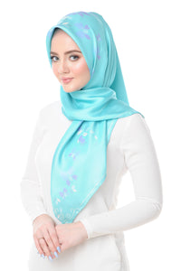 Lisse Silk Square Scarf in Blue Radience