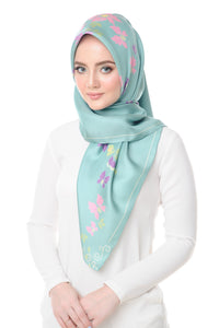 Lisse Silk Square Scarf in Pool Blue