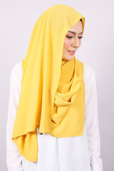 Plain Machine Rolled Shawl in Oil Yellow