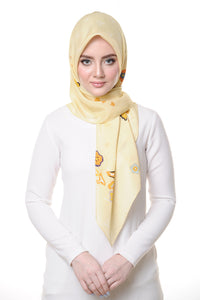 Belle Flower Square Scarf in Yellow