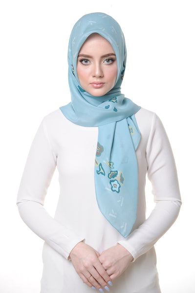 Belle Flower Square Scarf in Blue