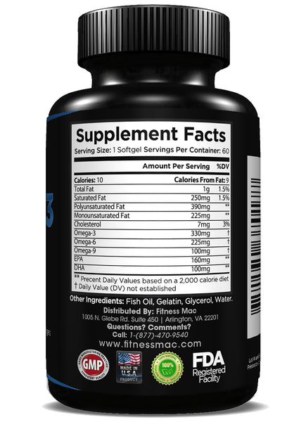 60 Pure SoftGels - Omega 3, 6 and 9 with DHA and EPA, Supports Brain, Heart, and Joint Health
