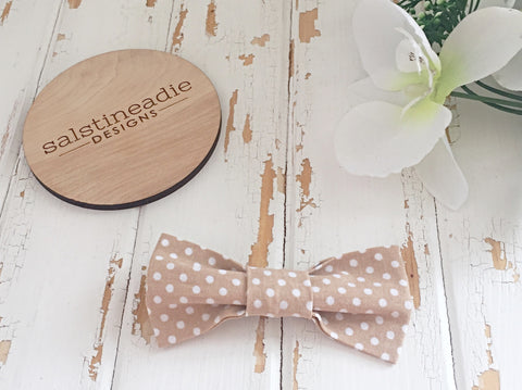 Beige polka dots bow tie hair bow