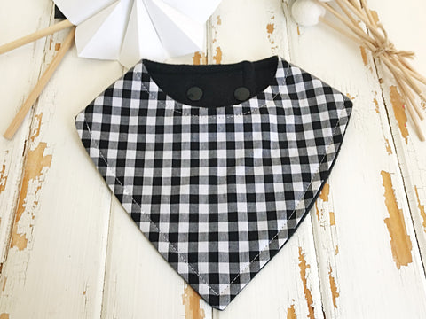 Black gingham dribble bib