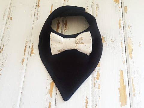 Black bow tie dribble bib