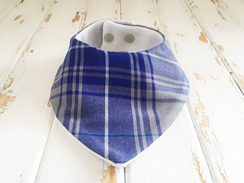 Blue and grey plaid dribble bib