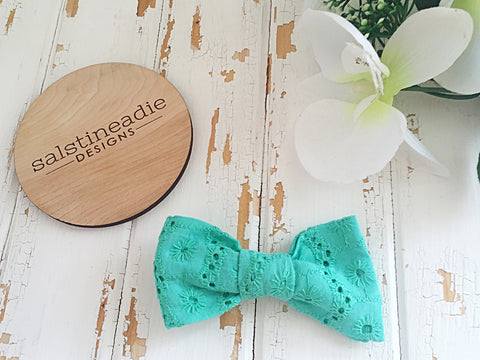 Bright green embroidery bow tie hair bow