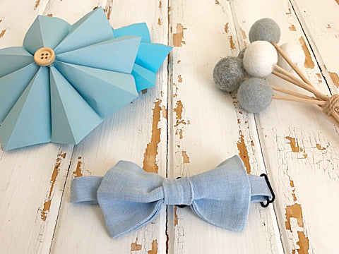 Chambray linen adjustable bow tie
