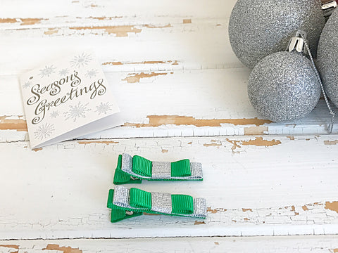 Emerald green and silver double bow hair clips