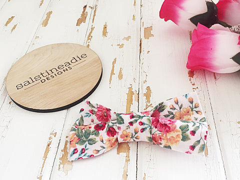 Floral bow tie hair bow