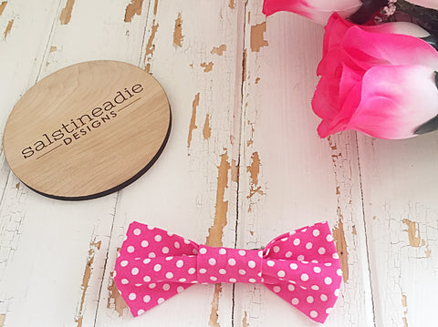 Fuschia polka dots bow tie hair bow