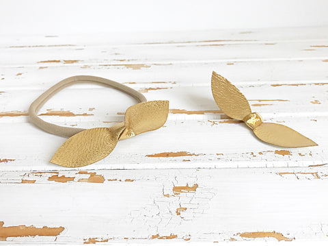 Gold petal bow headband
