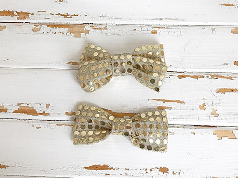 Gold sequin hair bows