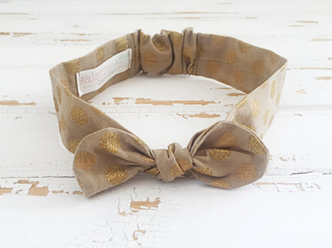 Gold glitter dots cotton headband