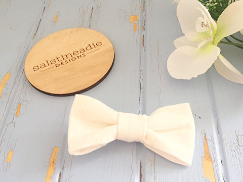 Ivory embroidery bow tie hair bow