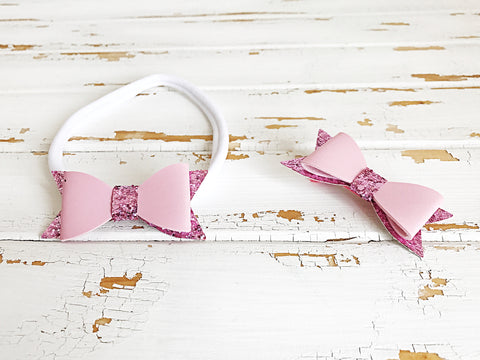 Light pink faux leather glitter bow