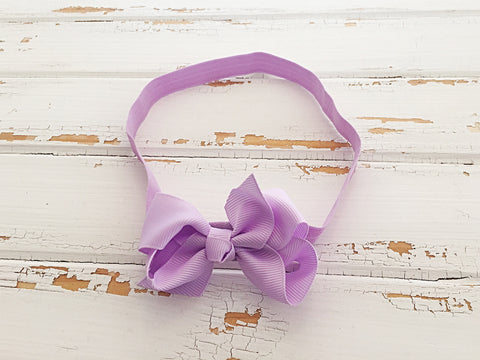 Lilac twisted ribbon bow headband