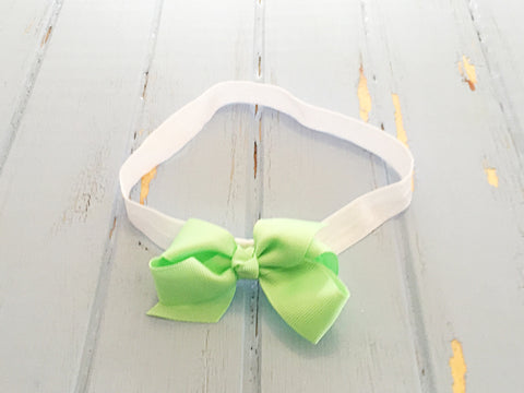 Mint twisted ribbon bow headband