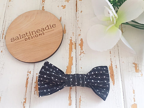 """Twinkle"" monochrome bow tie hair bow"