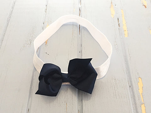 Navy twisted ribbon bow headband
