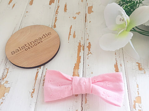 Pink embroidery bow tie hair bow