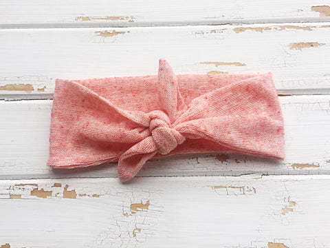 Peach knit knot tie headband