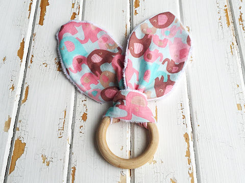 Pink elephant bunny ear teething ring
