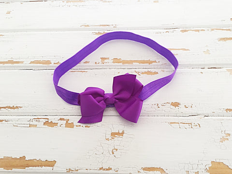 Purple twisted ribbon bow headband