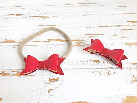 Red faux leather glitter bow