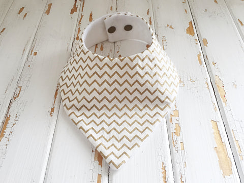 White and Gold chevron dribble bib