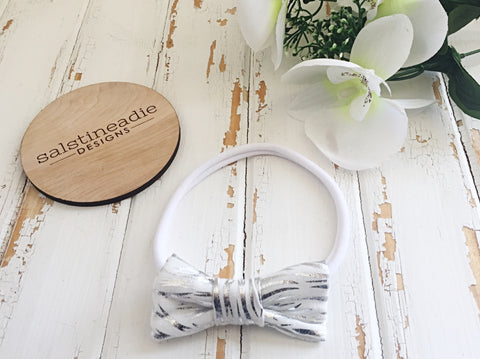 """Snowcat"" white and metallic silver bow headband"