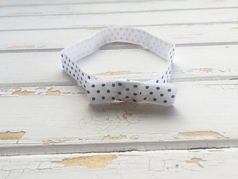 Blue polka dot elastic headband