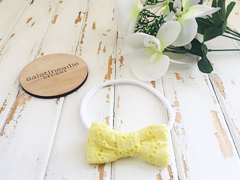 Yellow embroidery bow headband