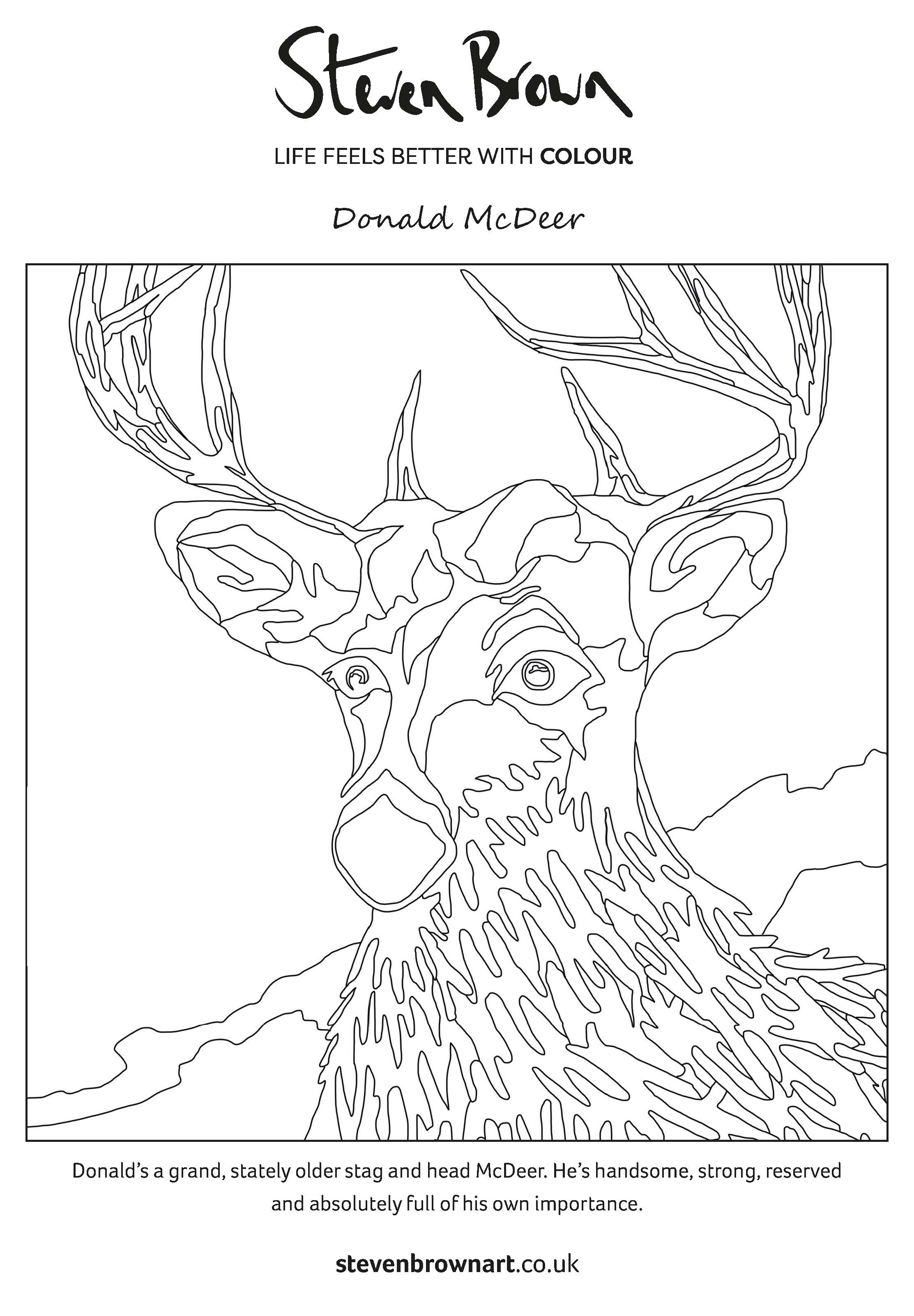 Steven Brown Colouring Sheet Let S Share The Colour Steven Brown Art