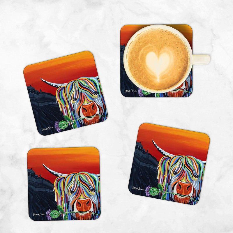 Auld Scottie Mccoo Set Of 4 Coasters Steven Brown Art