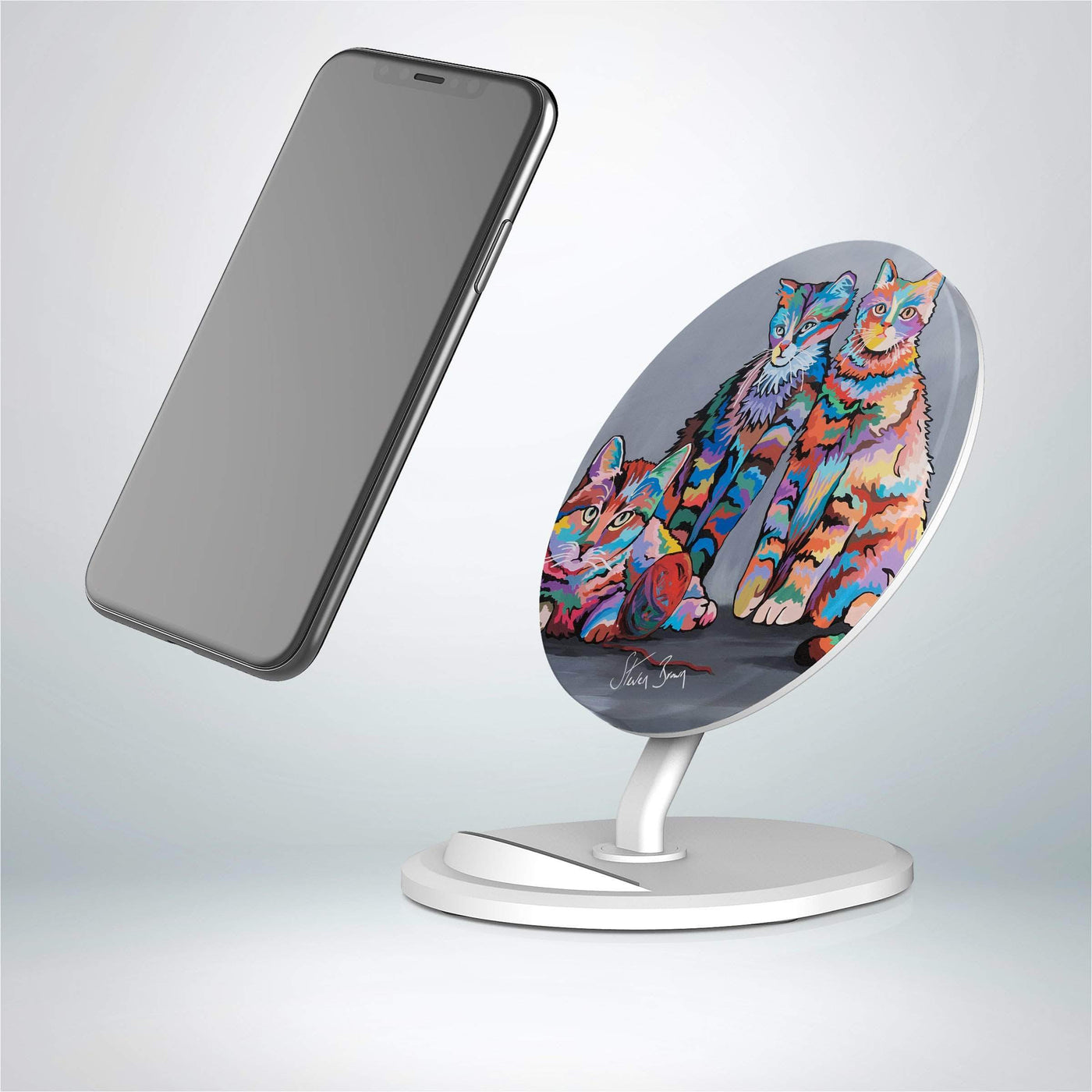 Smartphone Display with Chargers and Charging Cords Convience Store Countertop