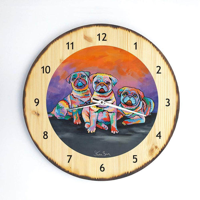 Scotty, Billy & Pugz McDug - Wooden Clock
