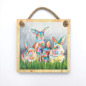 The McBunnies - Wooden Wall Plaque